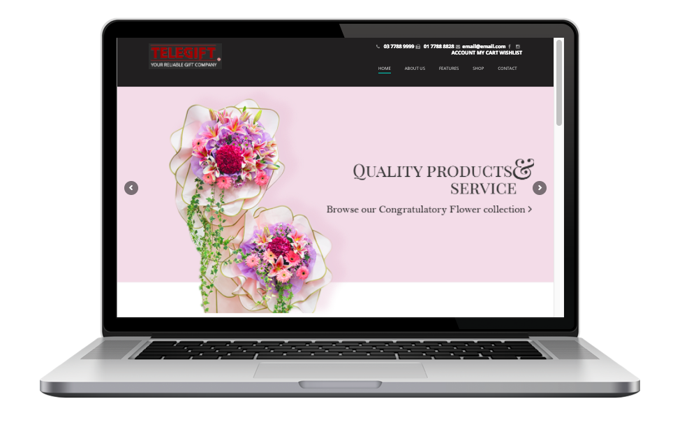 AdsMunch Web Design Malaysia   Our work for an E-commerce Website for a Custom Gifts Company